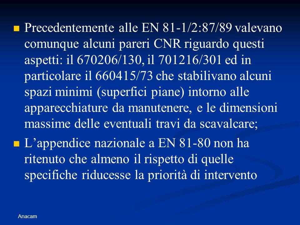Anacam Precedentemente alle EN 81-1/2:87/89 valevano comunque alcuni pareri CNR riguardo questi aspetti: il 670206/130, il 701216/301 ed in particolar