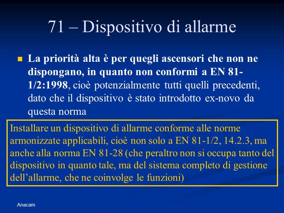 Anacam 71 – Dispositivo di allarme La priorità alta è per quegli ascensori che non ne dispongano, in quanto non conformi a EN 81- 1/2:1998, cioè poten
