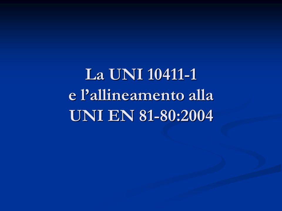 La UNI 10411-1 e lallineamento alla UNI EN 81-80:2004