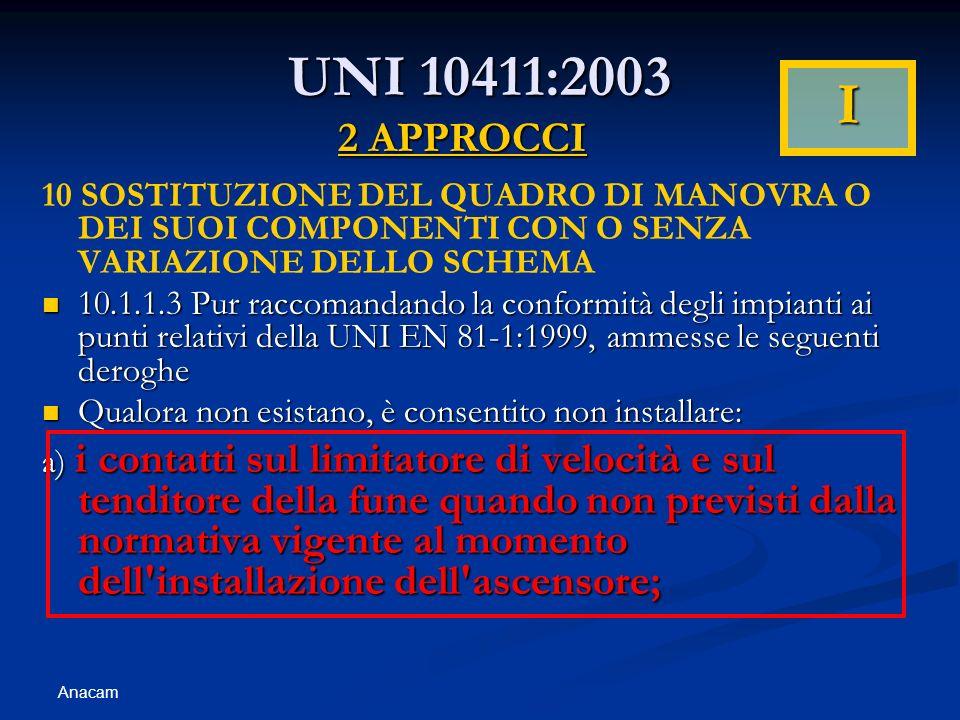 Anacam UNI 10411:2003 10 SOSTITUZIONE DEL QUADRO DI MANOVRA O DEI SUOI COMPONENTI CON O SENZA VARIAZIONE DELLO SCHEMA 10.1.1.3 Pur raccomandando la conformità degli impianti ai punti relativi della UNI EN 81-1:1999, ammesse le seguenti deroghe 10.1.1.3 Pur raccomandando la conformità degli impianti ai punti relativi della UNI EN 81-1:1999, ammesse le seguenti deroghe Qualora non esistano, è consentito non installare: Qualora non esistano, è consentito non installare: a) i contatti sul limitatore di velocità e sul tenditore della fune quando non previsti dalla normativa vigente al momento dell installazione dell ascensore; 2 APPROCCI I