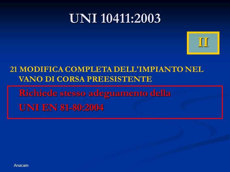 Anacam UNI 10411:2003 21 MODIFICA COMPLETA DELL IMPIANTO NEL VANO DI CORSA PREESISTENTE Richiede stesso adeguamento della UNI EN 81-80:2004 II