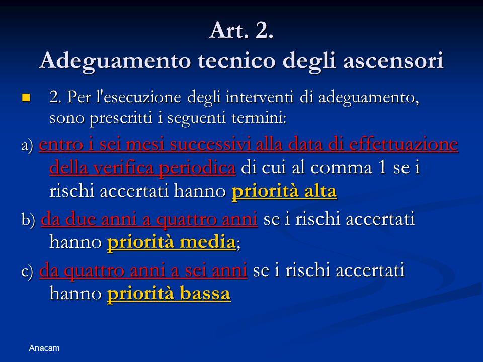 Anacam Art. 2. Adeguamento tecnico degli ascensori 2. Per l'esecuzione degli interventi di adeguamento, sono prescritti i seguenti termini: 2. Per l'e