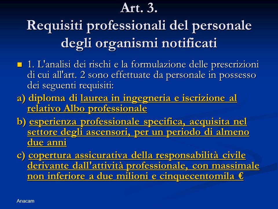 Anacam Art. 3. Requisiti professionali del personale degli organismi notificati 1. L'analisi dei rischi e la formulazione delle prescrizioni di cui al