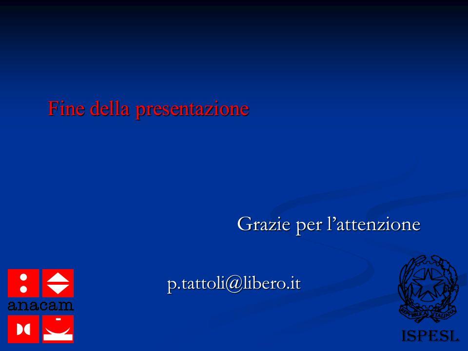 Fine della presentazione Grazie per lattenzione p.tattoli@libero.it