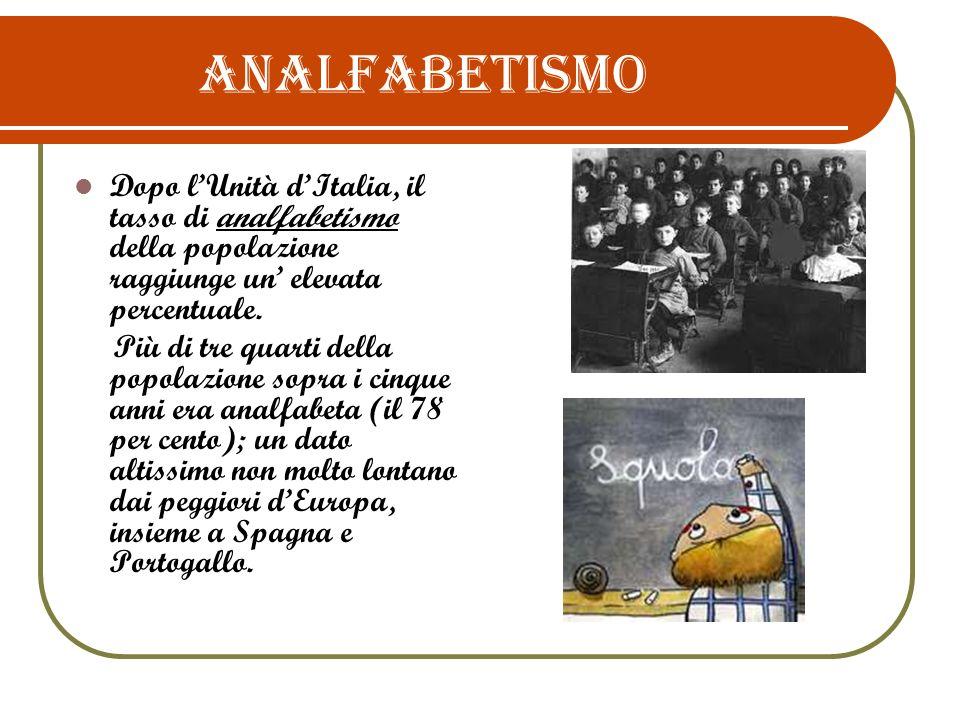 Situazione generale All indomani dell unificazione, nel 1861, lItalia contava una media del 78% di analfabeti con punte massime del 91% in Sardegna e del 90 % in Calabria e Sicilia, bilanciata dai valori minimi del 57% in Piemonte e del 60% in Lombardia.
