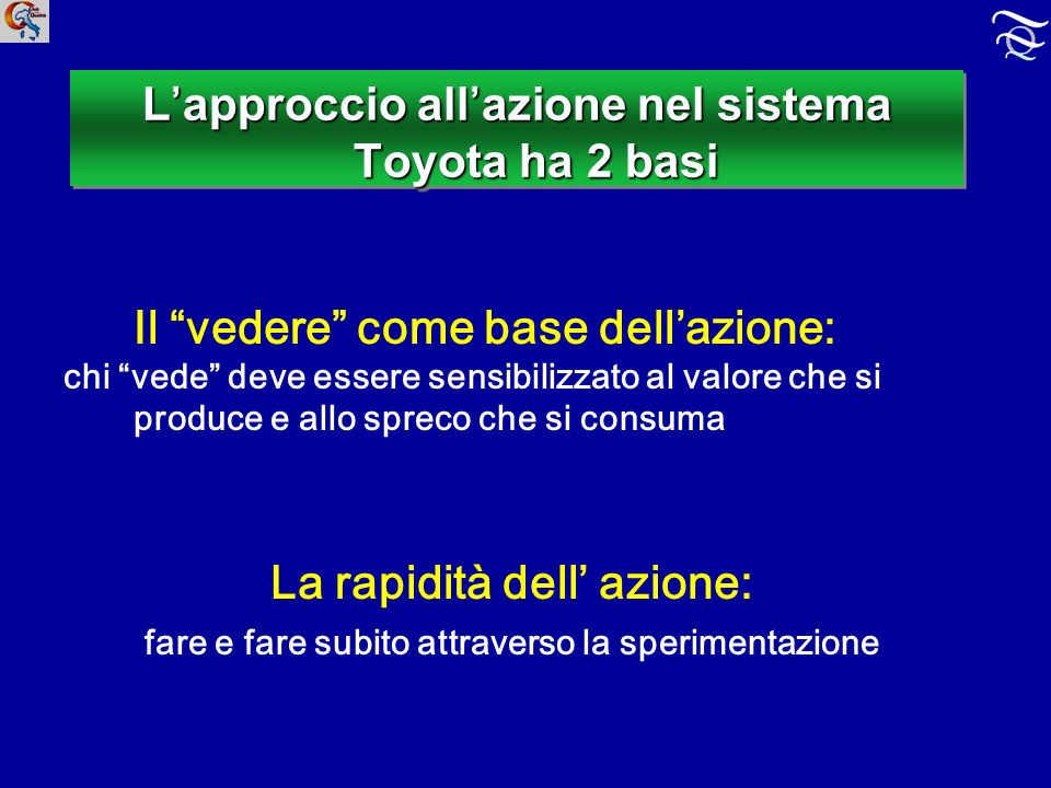 L approccio all azione nel sistema Toyota ha 2 basi Il vedere come base dellazione: chi vede deve essere sensibilizzato al valore che si produce e allo spreco che si consuma La rapidità dell azione: fare e fare subito attraverso la sperimentazione