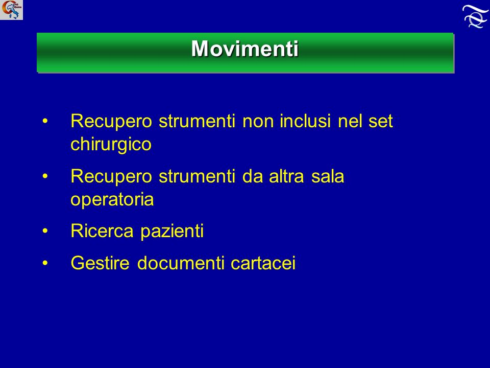 MovimentiMovimenti Recupero strumenti non inclusi nel set chirurgico Recupero strumenti da altra sala operatoria Ricerca pazienti Gestire documenti cartacei