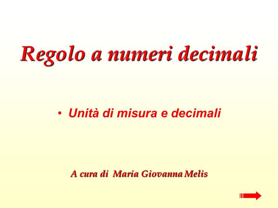 Regolo a numeri decimali Unità di misura e decimali A cura di Maria Giovanna Melis