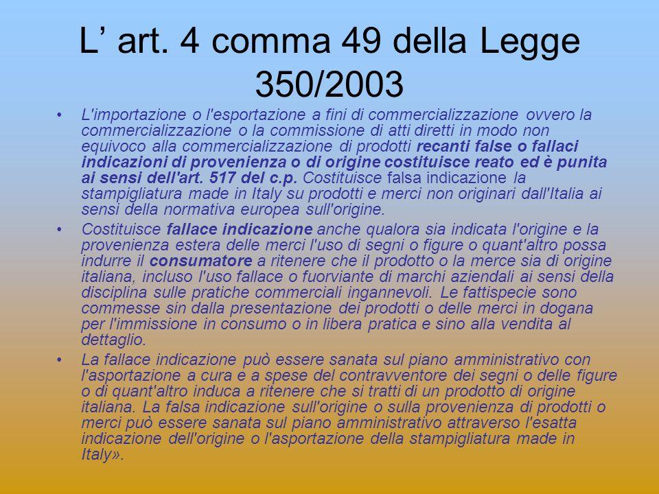 L art. 4 comma 49 della Legge 350/2003 L'importazione o l'esportazione a fini di commercializzazione ovvero la commercializzazione o la commissione di