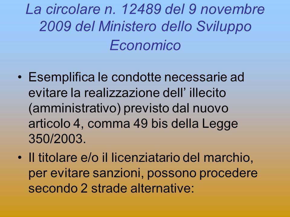 La circolare n. 12489 del 9 novembre 2009 del Ministero dello Sviluppo Economico Esemplifica le condotte necessarie ad evitare la realizzazione dell i