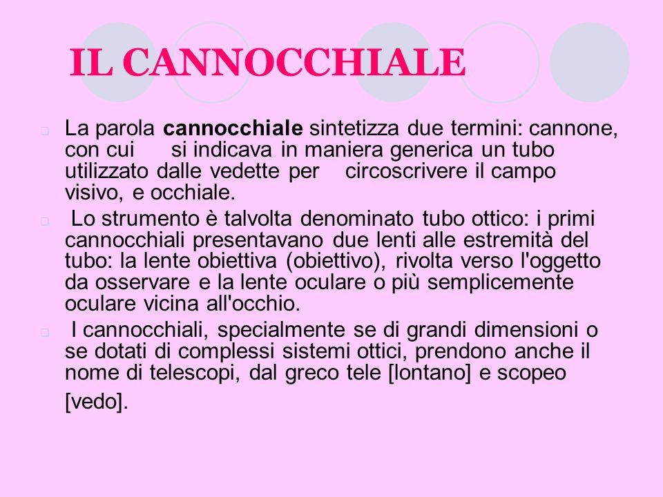 IL CANNOCCHIALE La parola cannocchiale sintetizza due termini: cannone, con cui si indicava in maniera generica un tubo utilizzato dalle vedette per c