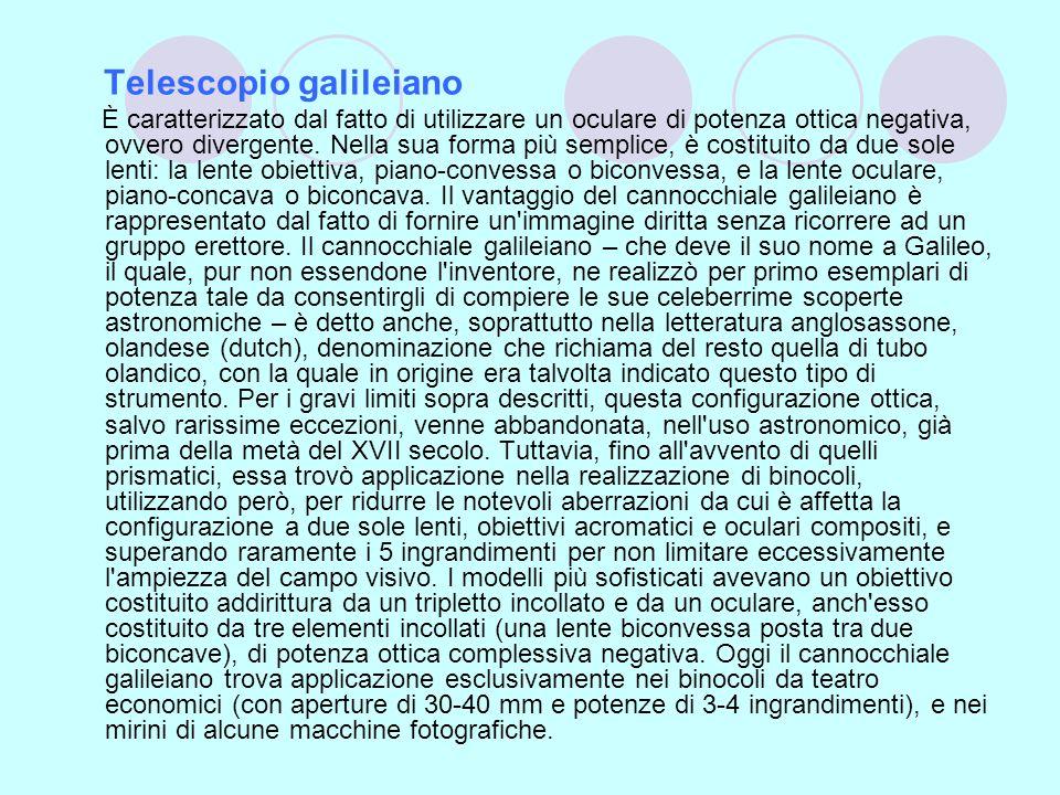 Telescopio galileiano È caratterizzato dal fatto di utilizzare un oculare di potenza ottica negativa, ovvero divergente. Nella sua forma più semplice,