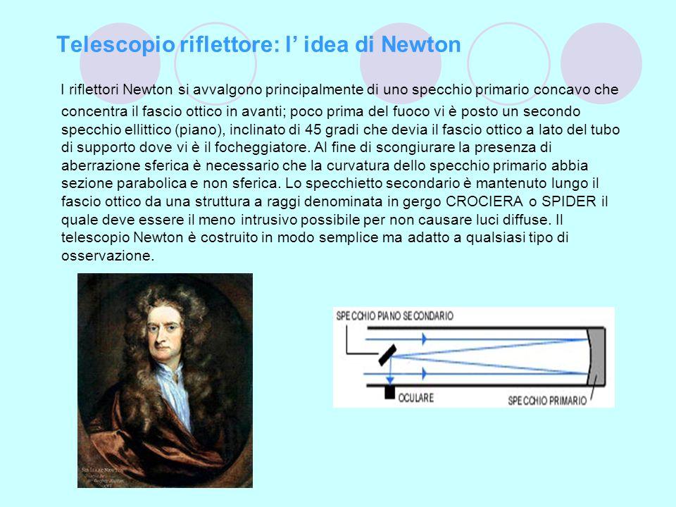 Telescopio riflettore: l idea di Newton I riflettori Newton si avvalgono principalmente di uno specchio primario concavo che concentra il fascio ottic
