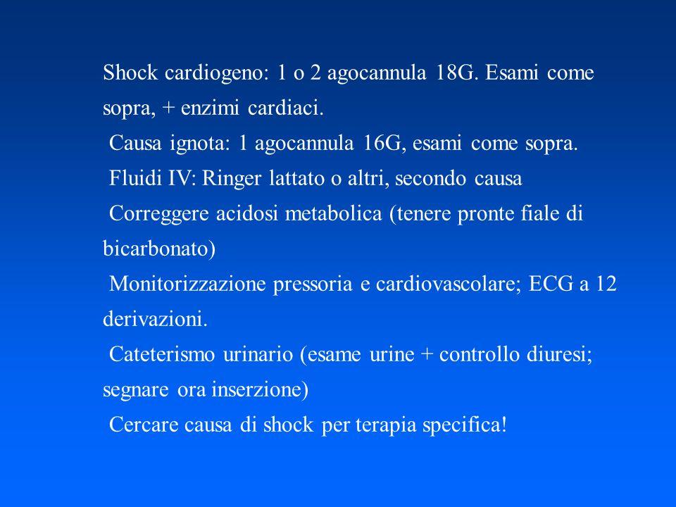Shock cardiogeno: 1 o 2 agocannula 18G. Esami come sopra, + enzimi cardiaci. Causa ignota: 1 agocannula 16G, esami come sopra. Fluidi IV: Ringer latta