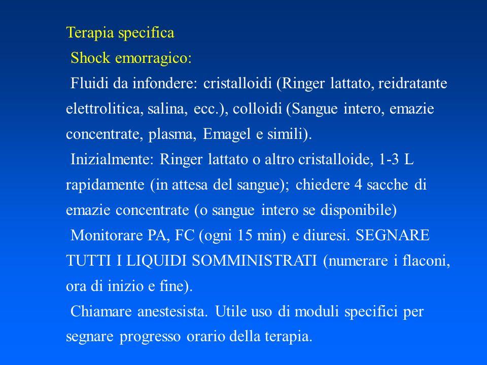 Terapia specifica Shock emorragico: Fluidi da infondere: cristalloidi (Ringer lattato, reidratante elettrolitica, salina, ecc.), colloidi (Sangue inte
