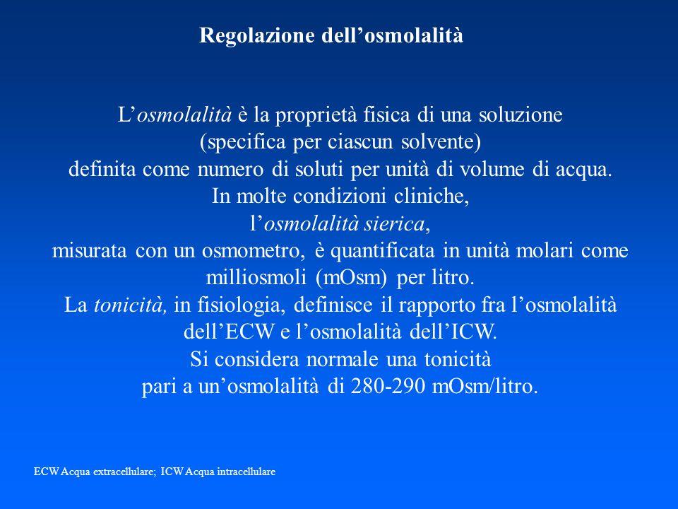 Regolazione dellosmolalità Losmolalità è la proprietà fisica di una soluzione (specifica per ciascun solvente) definita come numero di soluti per unit
