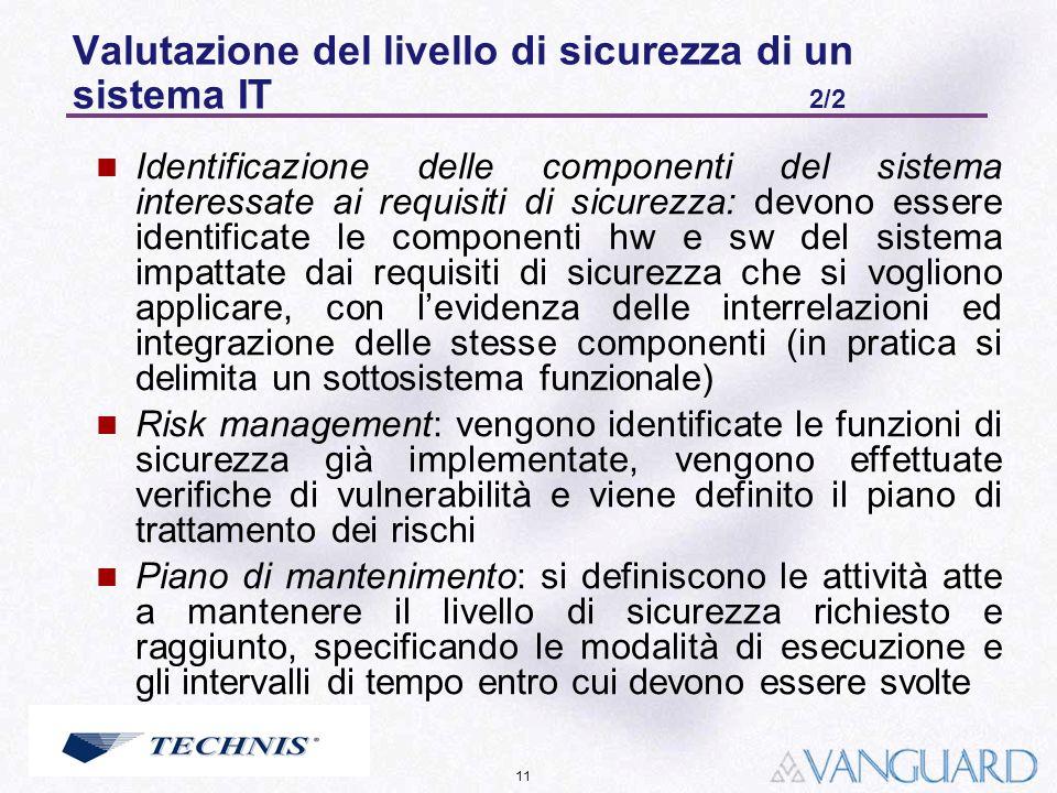 11 Valutazione del livello di sicurezza di un sistema IT 2/2 Identificazione delle componenti del sistema interessate ai requisiti di sicurezza: devon