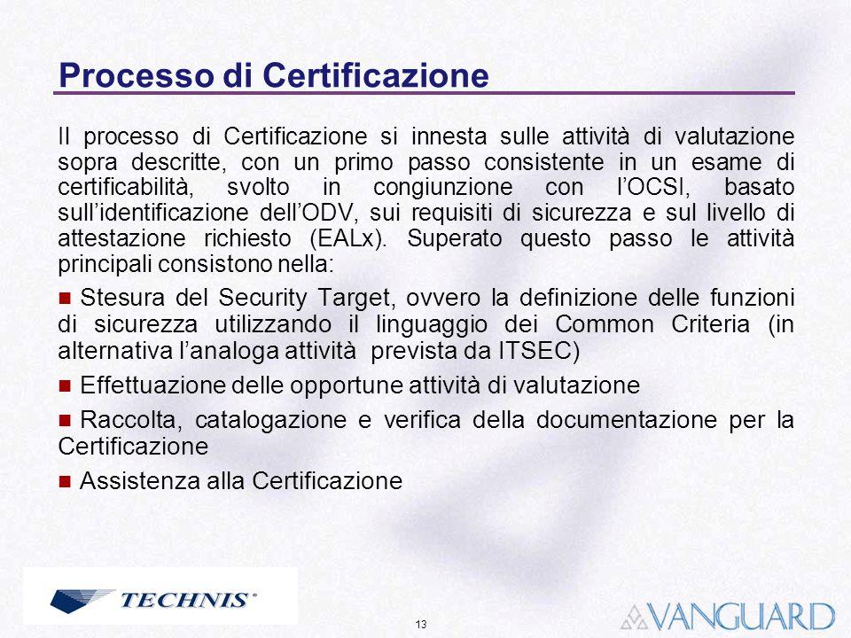 13 Processo di Certificazione Il processo di Certificazione si innesta sulle attività di valutazione sopra descritte, con un primo passo consistente i