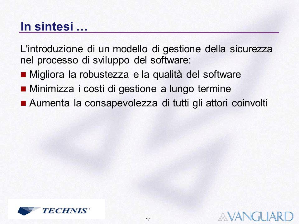 17 In sintesi … L'introduzione di un modello di gestione della sicurezza nel processo di sviluppo del software: Migliora la robustezza e la qualità de