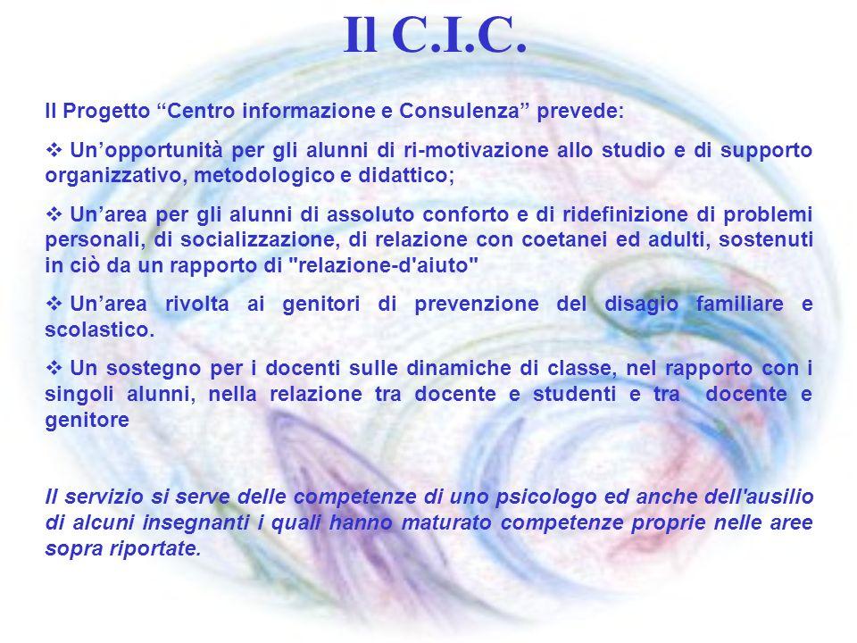 Il C.I.C. Il Progetto Centro informazione e Consulenza prevede: Unopportunità per gli alunni di ri-motivazione allo studio e di supporto organizzativo