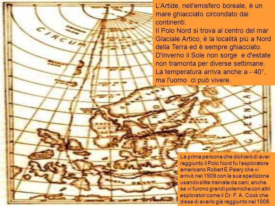 LArtide, nell'emisfero boreale, è un mare ghiacciato circondato dai continenti. Il Polo Nord si trova al centro del mar Glaciale Artico, è la località