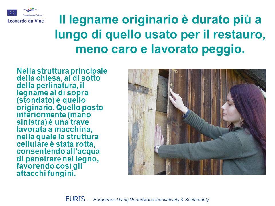 EURIS – Europeans Using Roundwood Innovatively & Sustainably Il legname originario è durato più a lungo di quello usato per il restauro, meno caro e l