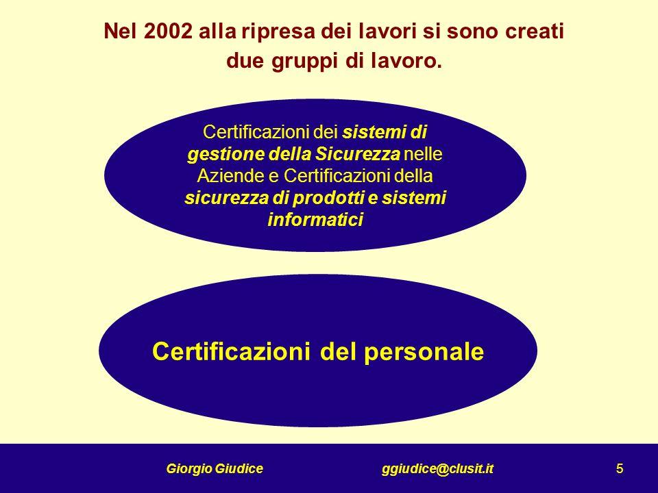 Giorgio Giudice ggiudice@clusit.it 6 Obbiettivi della Commissione Certificazioni del personale Individuare le figure professionali in materia di ICT Security Conoscere le necessità del mercato Analizzare lofferta (certificazioni esistenti) Proporre soluzioni