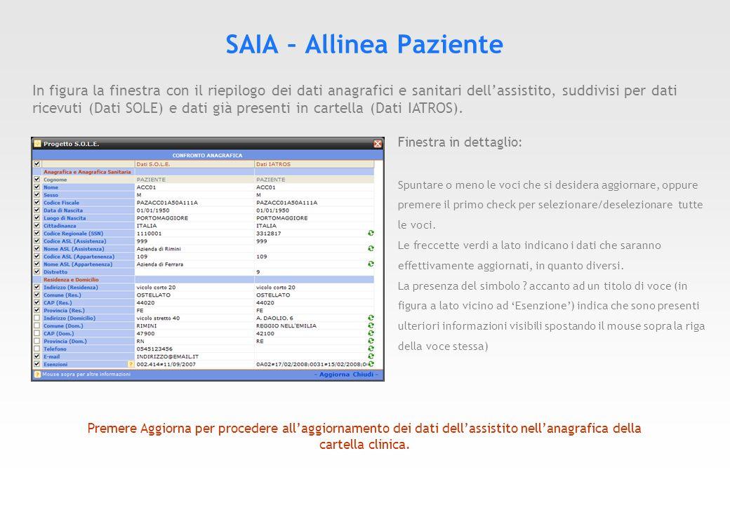 SAIA – Ricerca Paziente Avviando il servizio SAIA senza nessuna scheda paziente aperta comparirà la figura sottostante.