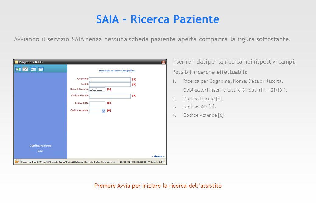 SAIA – Ricerca Paziente Se la ricerca ha esito positivo verrà restituito il paziente associato ai parametri di ricerca Impostati (Figura sottostante).