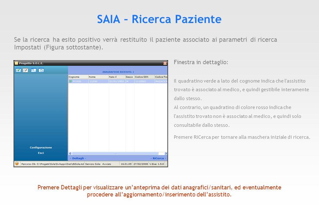 SARPE – Ricerca di una prescrizione Attraverso il SARPE il medico può effettuare la ricerca di una prescrizione precedentemente inviata tramite il servizio SATPE a SOLE.