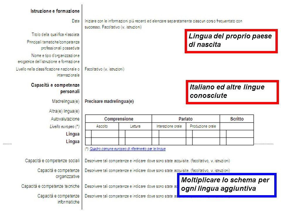 Lingua del proprio paese di nascita Italiano ed altre lingue conosciute Moltiplicare lo schema per ogni lingua aggiuntiva