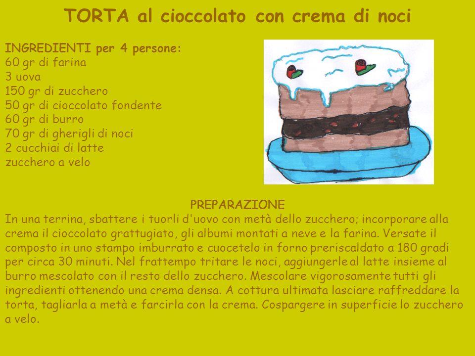 TORTA al cioccolato con crema di noci INGREDIENTI per 4 persone: 60 gr di farina 3 uova 150 gr di zucchero 50 gr di cioccolato fondente 60 gr di burro 70 gr di gherigli di noci 2 cucchiai di latte zucchero a velo PREPARAZIONE In una terrina, sbattere i tuorli d uovo con metà dello zucchero; incorporare alla crema il cioccolato grattugiato, gli albumi montati a neve e la farina.