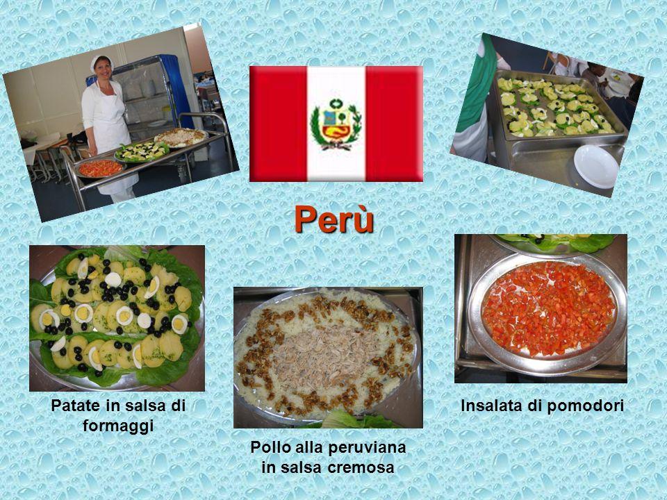 Perù Patate in salsa di formaggi Pollo alla peruviana in salsa cremosa Insalata di pomodori