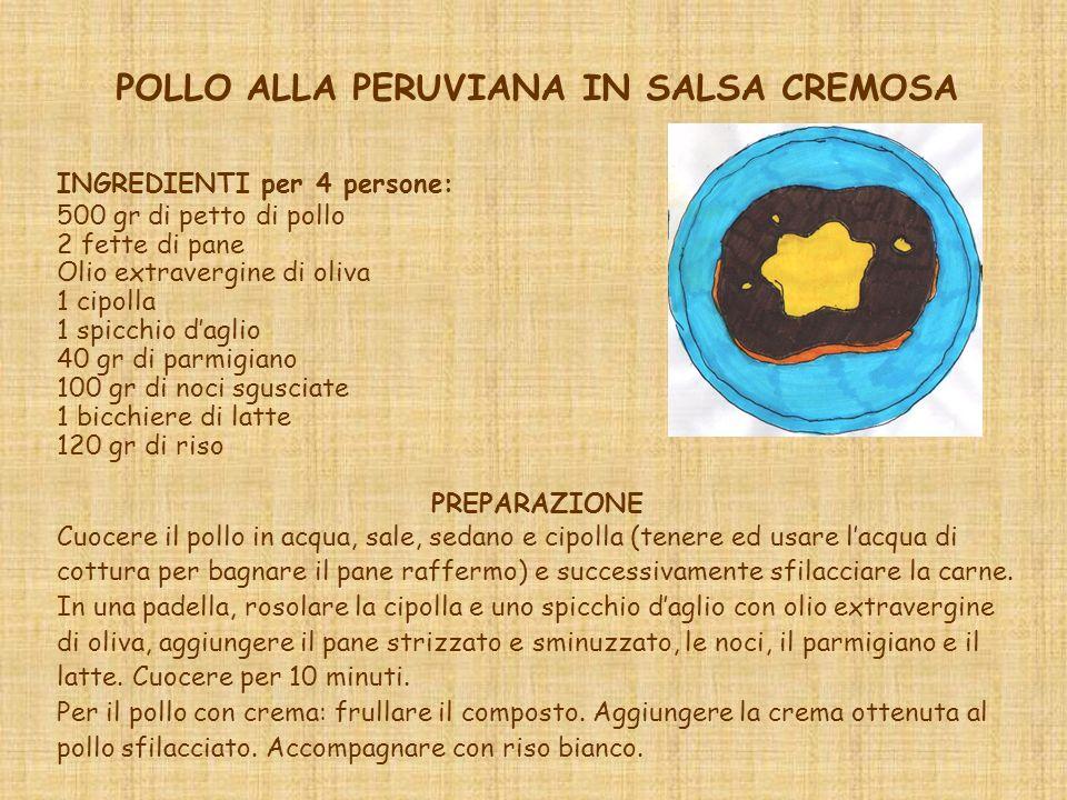 POLLO ALLA PERUVIANA IN SALSA CREMOSA INGREDIENTI per 4 persone: 500 gr di petto di pollo 2 fette di pane Olio extravergine di oliva 1 cipolla 1 spicchio daglio 40 gr di parmigiano 100 gr di noci sgusciate 1 bicchiere di latte 120 gr di riso PREPARAZIONE Cuocere il pollo in acqua, sale, sedano e cipolla (tenere ed usare lacqua di cottura per bagnare il pane raffermo) e successivamente sfilacciare la carne.