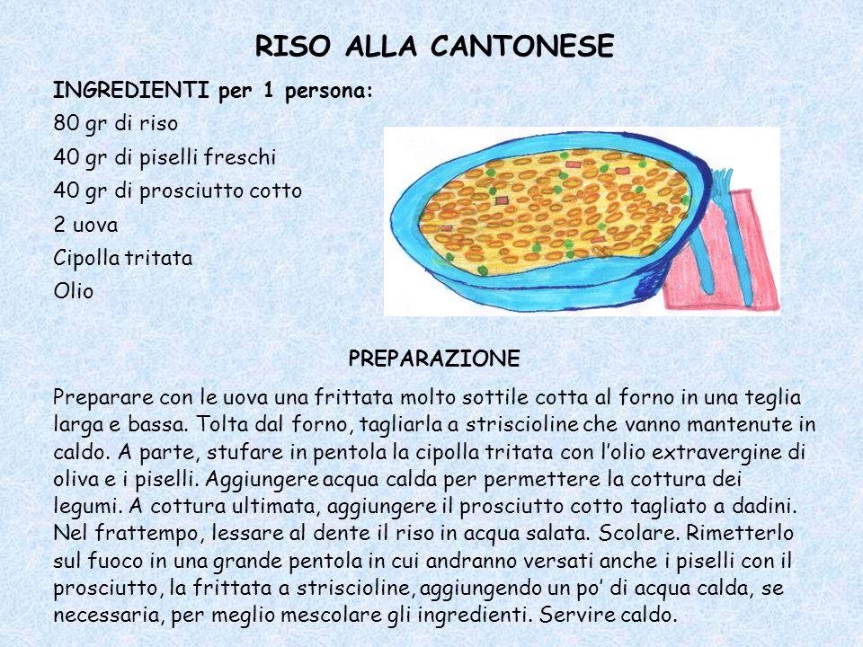 RISO ALLA CANTONESE INGREDIENTI per 1 persona: 80 gr di riso 40 gr di piselli freschi 40 gr di prosciutto cotto 2 uova Cipolla tritata Olio PREPARAZIONE Preparare con le uova una frittata molto sottile cotta al forno in una teglia larga e bassa.