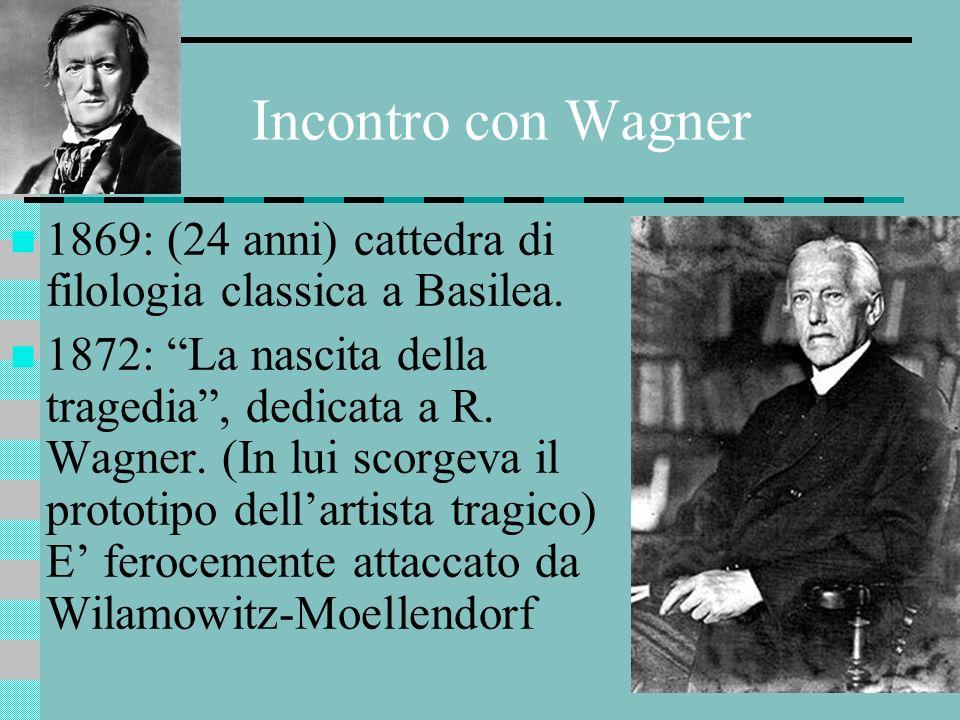 Incontro con Wagner 1869: (24 anni) cattedra di filologia classica a Basilea. 1872: La nascita della tragedia, dedicata a R. Wagner. (In lui scorgeva