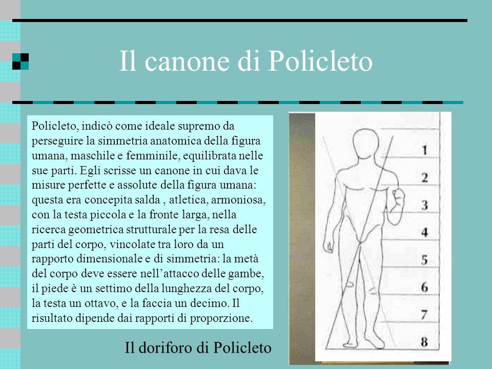 Il canone di Policleto Policleto, indicò come ideale supremo da perseguire la simmetria anatomica della figura umana, maschile e femminile, equilibrat