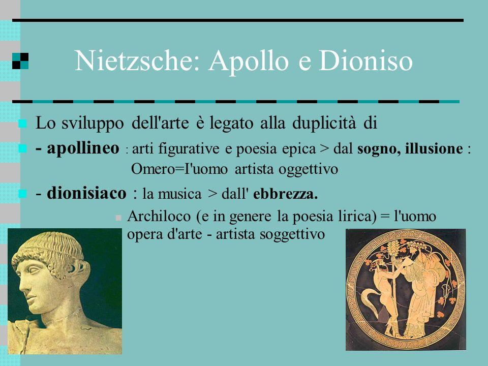 Nietzsche: Apollo e Dioniso Lo sviluppo dell'arte è legato alla duplicità di - apollineo : arti figurative e poesia epica > dal sogno, illusione : Ome