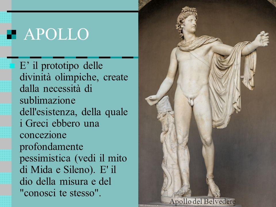 APOLLO E il prototipo delle divinità olimpiche, create dalla necessità di sublimazione dell'esistenza, della quale i Greci ebbero una concezione profo