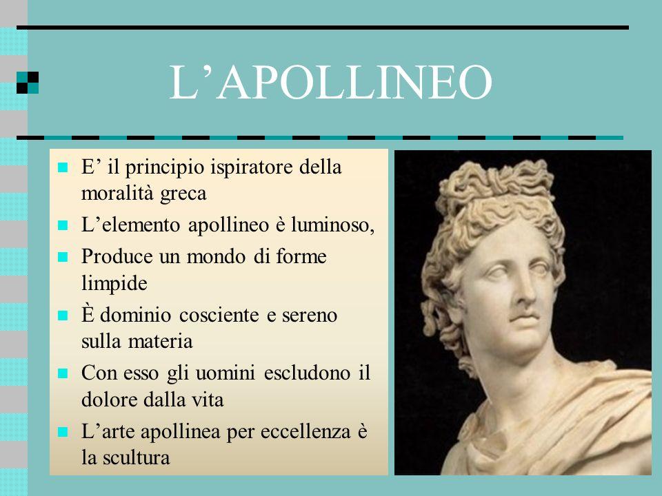 LAPOLLINEO E il principio ispiratore della moralità greca Lelemento apollineo è luminoso, Produce un mondo di forme limpide È dominio cosciente e sere