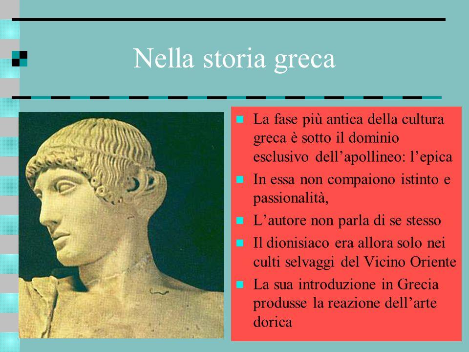 Nella storia greca La fase più antica della cultura greca è sotto il dominio esclusivo dellapollineo: lepica In essa non compaiono istinto e passional