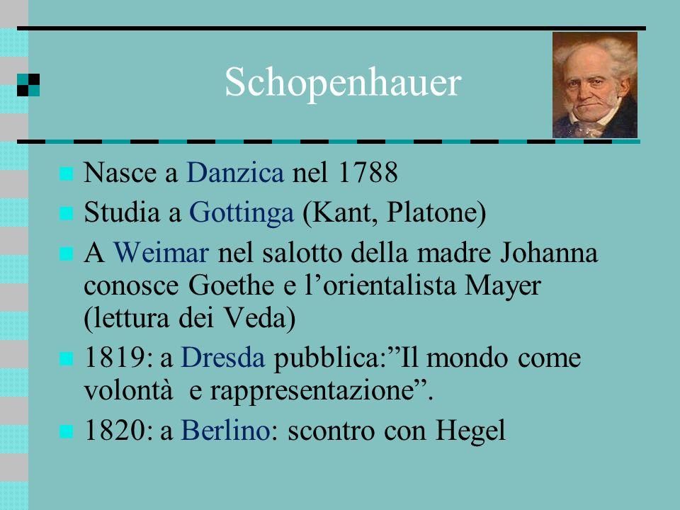Schopenhauer Nasce a Danzica nel 1788 Studia a Gottinga (Kant, Platone) A Weimar nel salotto della madre Johanna conosce Goethe e lorientalista Mayer