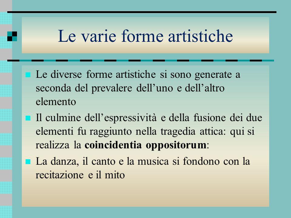 Le varie forme artistiche Le diverse forme artistiche si sono generate a seconda del prevalere delluno e dellaltro elemento Il culmine dellespressivit