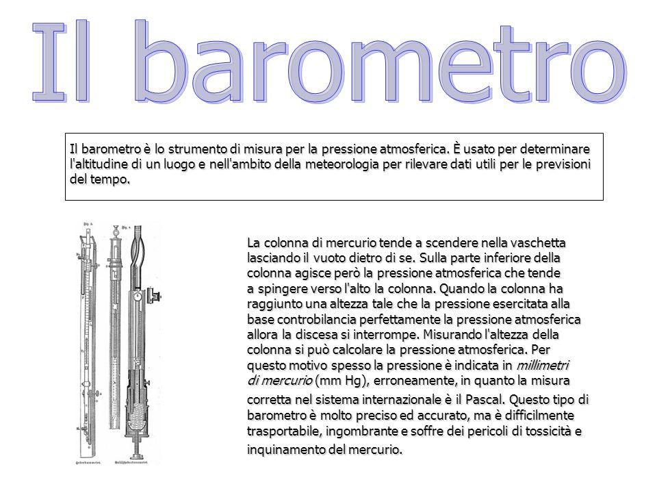 Il barometro è lo strumento di misura per la pressione atmosferica. È usato per determinare l'altitudine di un luogo e nell'ambito della meteorologia