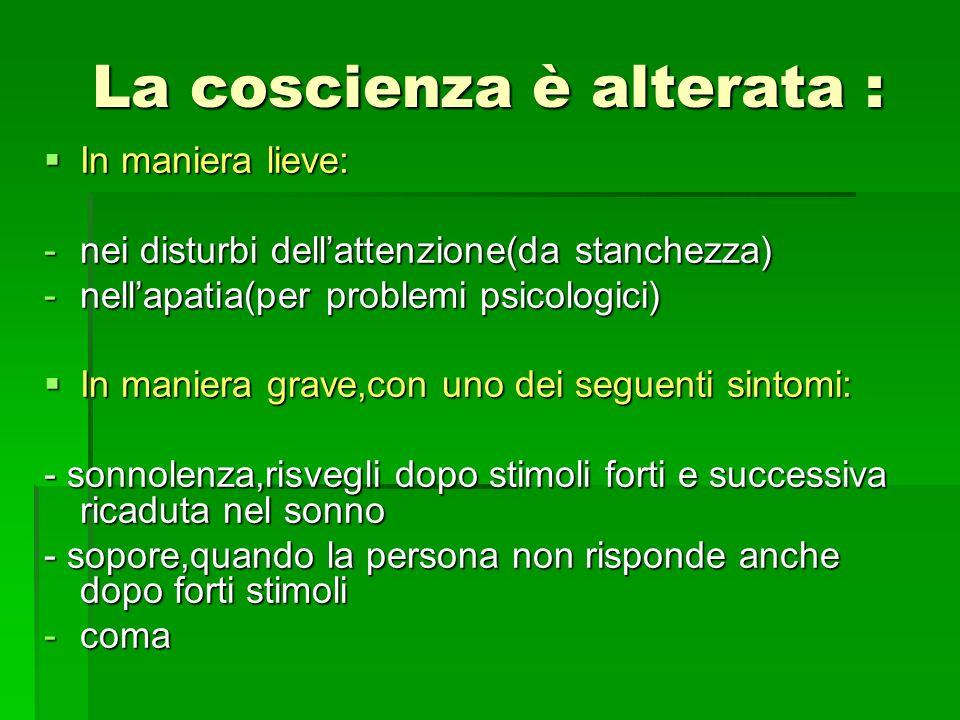 La coscienza è alterata : In maniera lieve: In maniera lieve: -nei disturbi dellattenzione(da stanchezza) -nellapatia(per problemi psicologici) In man