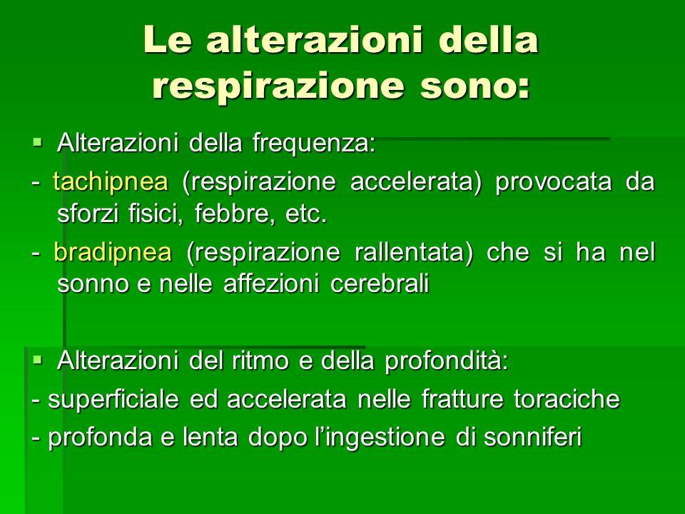 Le alterazioni della respirazione sono: Alterazioni della frequenza: Alterazioni della frequenza: - tachipnea (respirazione accelerata) provocata da s
