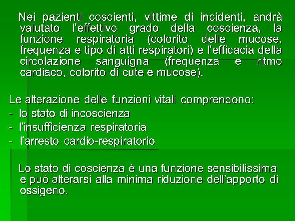 Nei pazienti coscienti, vittime di incidenti, andrà valutato leffettivo grado della coscienza, la funzione respiratoria (colorito delle mucose, freque