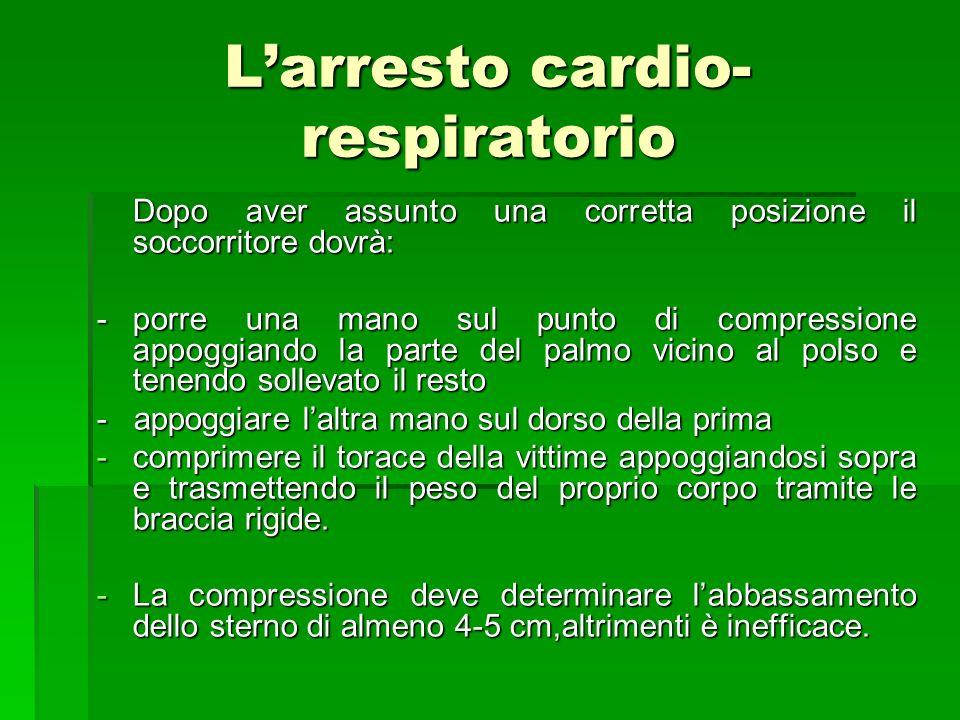Larresto cardio- respiratorio Dopo aver assunto una corretta posizione il soccorritore dovrà: Dopo aver assunto una corretta posizione il soccorritore