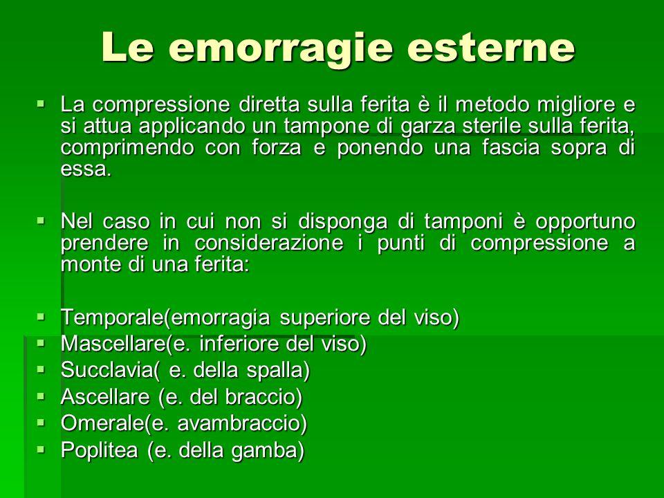 Le emorragie esterne La compressione diretta sulla ferita è il metodo migliore e si attua applicando un tampone di garza sterile sulla ferita, comprim