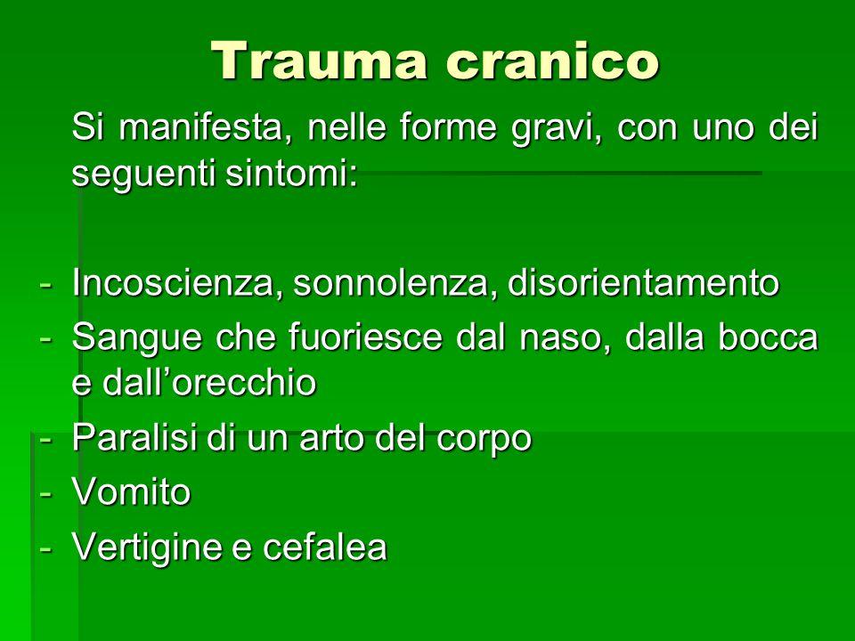 Trauma cranico Si manifesta, nelle forme gravi, con uno dei seguenti sintomi: Si manifesta, nelle forme gravi, con uno dei seguenti sintomi: -Incoscie